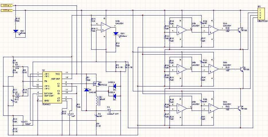难度低性能较好的锂电充电器(转)    附电压平衡器第一张, 电路全图.