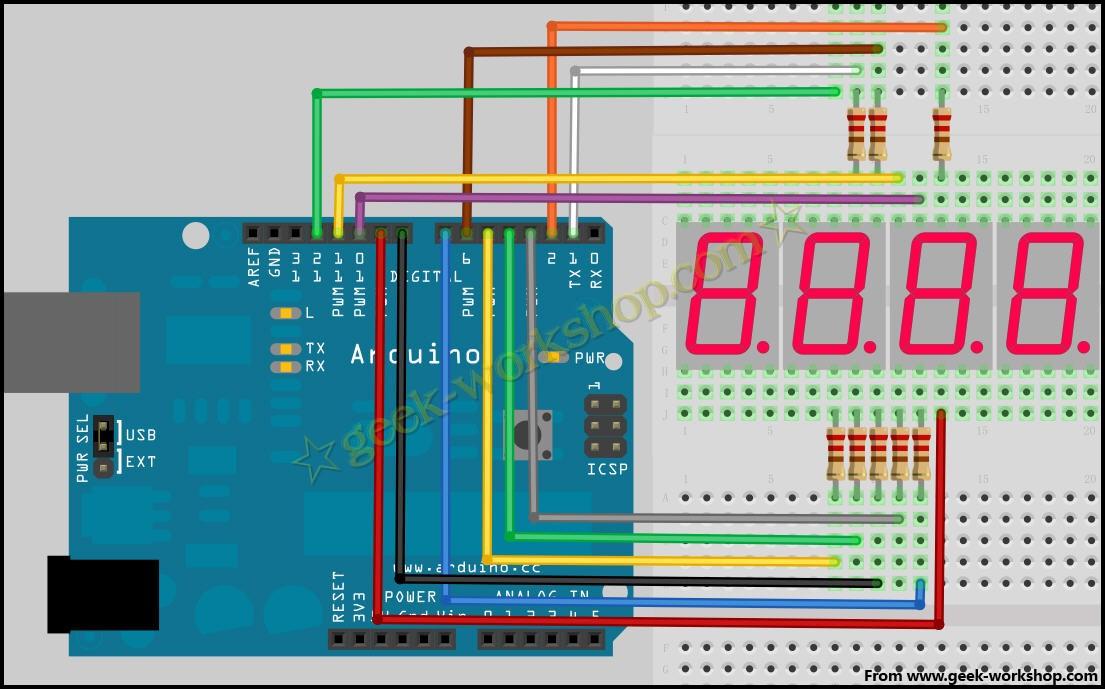 arduino学习笔记13 - 4位数码管实验