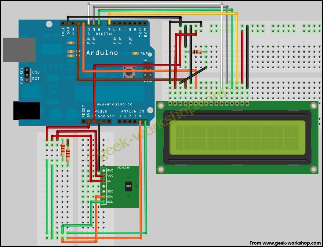 arduino学习笔记12 - adxl345加速度传感器实验