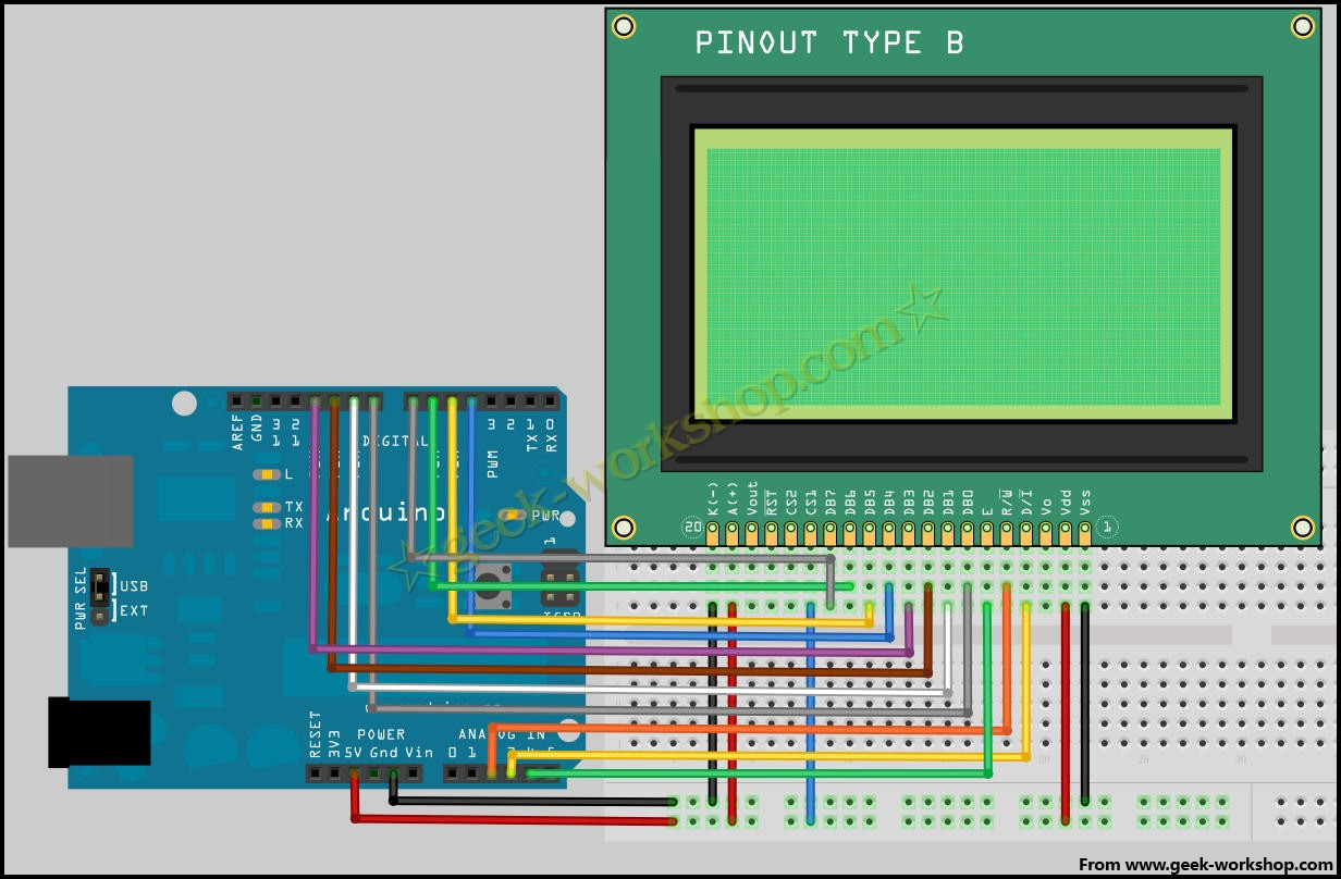 arduino学习笔记15 - 12864液晶实验