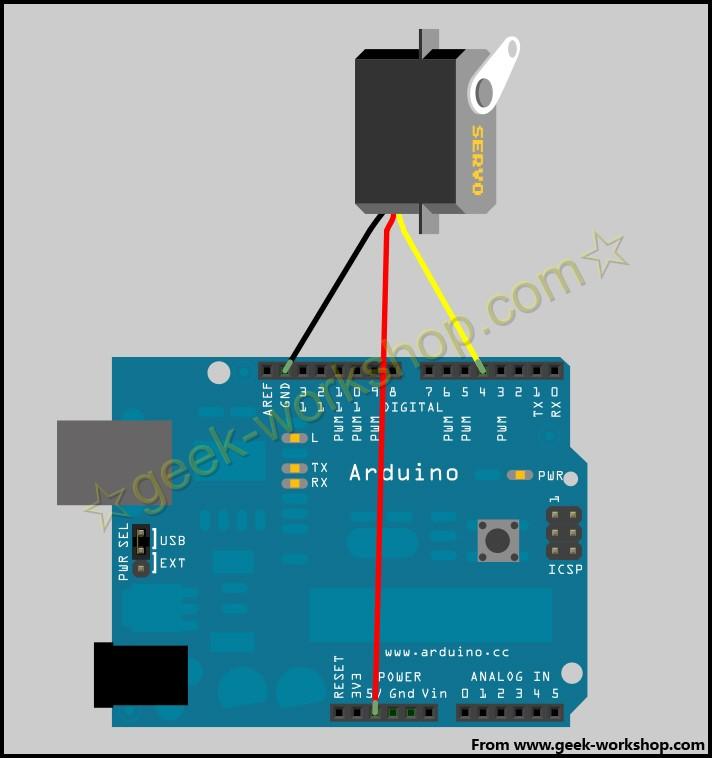arduino学习笔记23 - 任意输出舵机角度实验