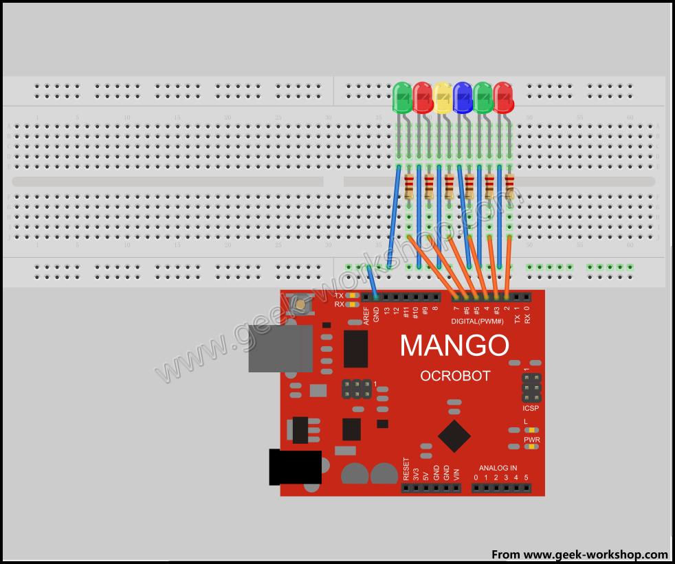 led流水灯,ps:0和1两个接口共享了板子的串口,tx和rx,也就是说,如果在这两个接口上连接led的话,就无法进行正常的程序下载了。所以,一般我们会空出来不使用,一定要使用的情况下,也是先下载好程序然后再连接电路。所以要空出!!!