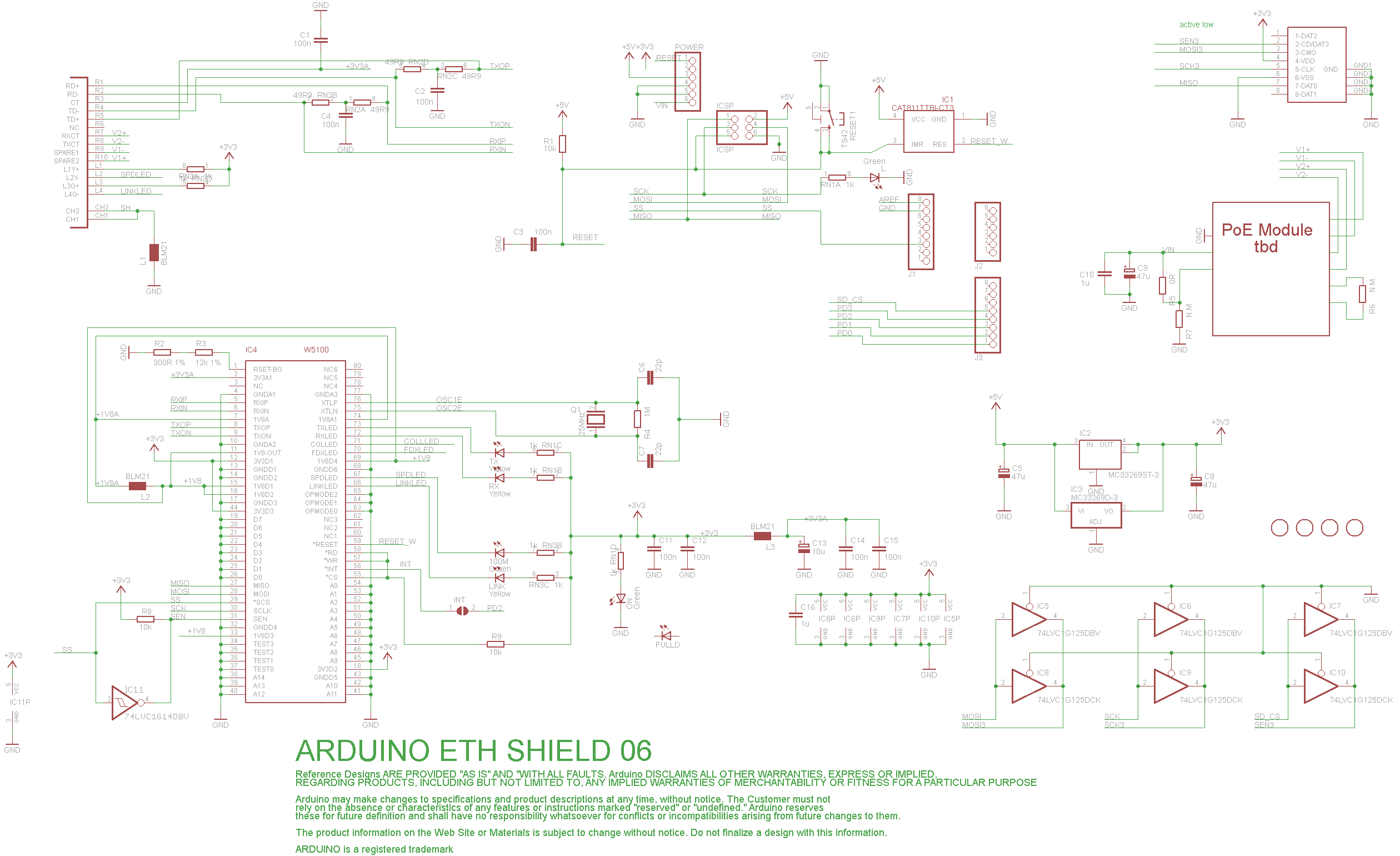 w5100 ethernet shield的原理图有谁可以简单解释一