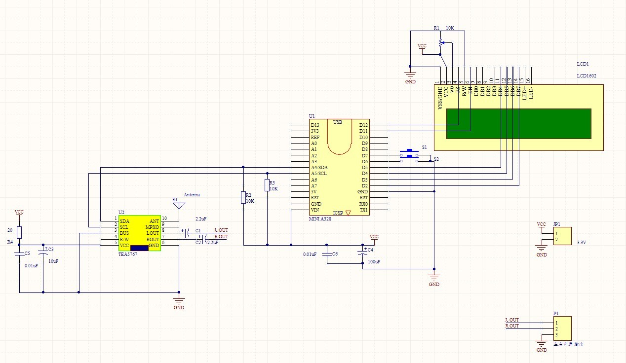 开源项目arduino mini328连接tea5767 收音机源码及电路