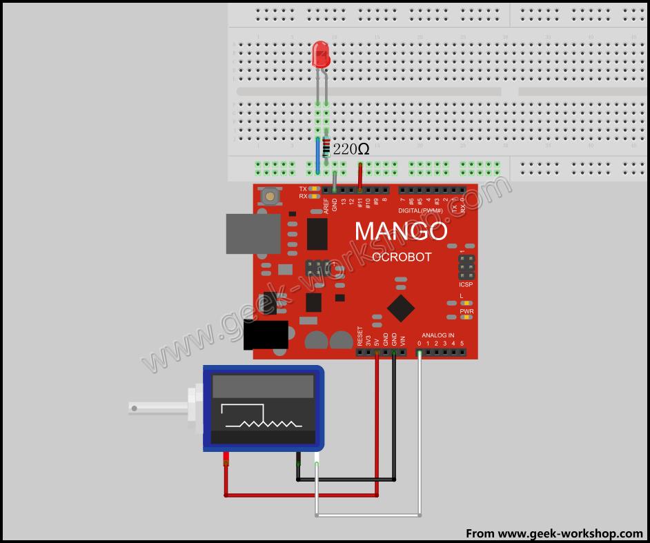 作用:通过精密线性电位器PWM控制led亮度 */ void setup() { pinMode(11,OUTPUT); //数字口要选择带#号的具有pwm功能的输出口 } void loop() { int n = analogRead(A0); //读取A0模拟口的数值(0-5V 对应 0-1204取值) analogWrite(11,n/4); //PWM最大取值255 所以将模拟口的取值n除以4 }[/pre]以下是我们的实验视频, 在视频中看到led微微闪烁是因为摄影机的帧率,恰好耦合了led的