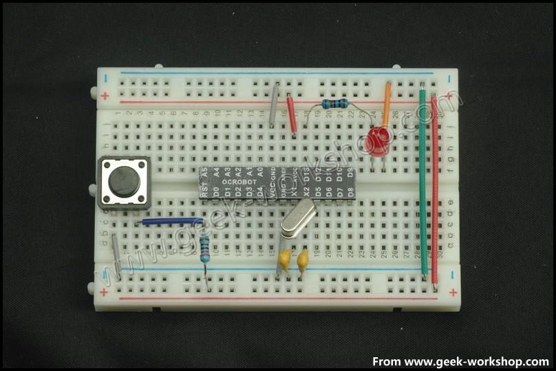 面包板搭建arduino最小系統