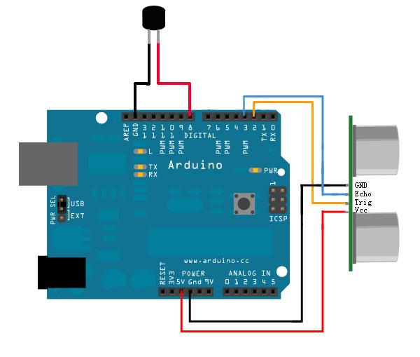 arduino超聲波測距模塊控制蜂鳴器