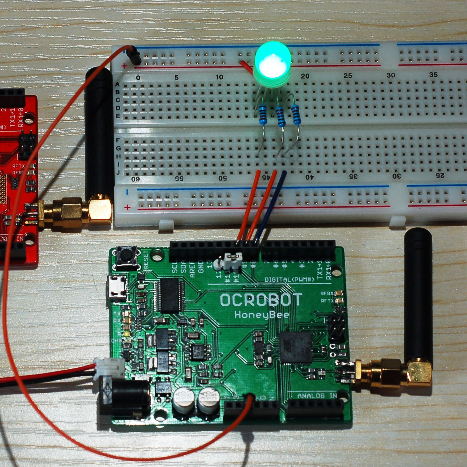 Honeybee入门教程 第四课 无线控制rgb led灯 实验一 教程 无线 powered by