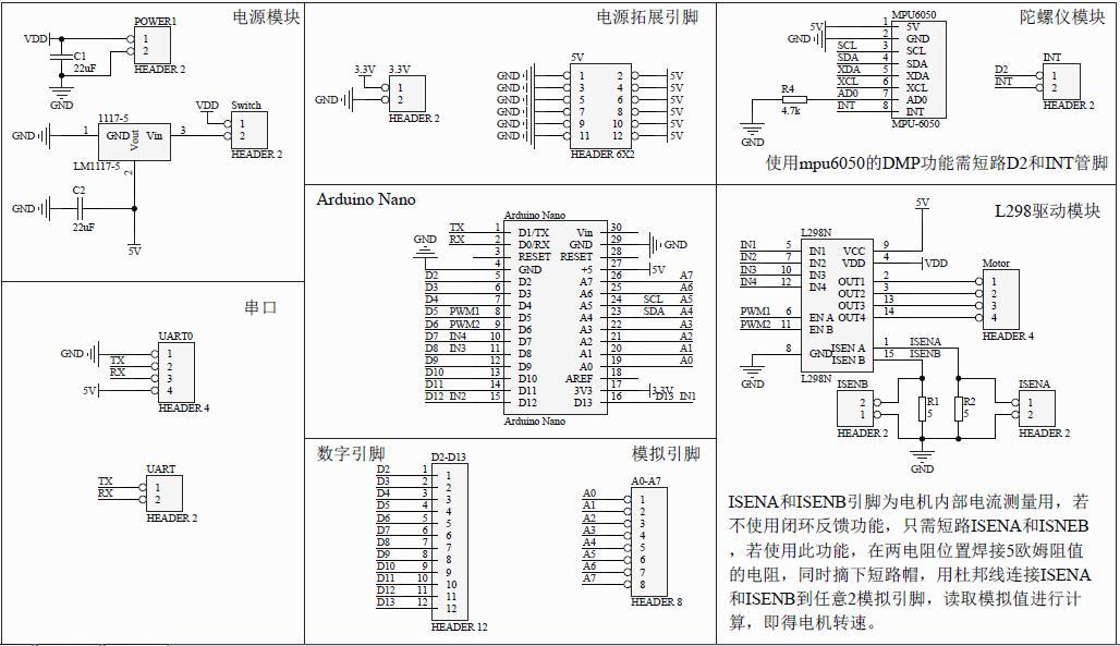 设计的arduinonano拓展板,用于制作平衡车,集成了l298