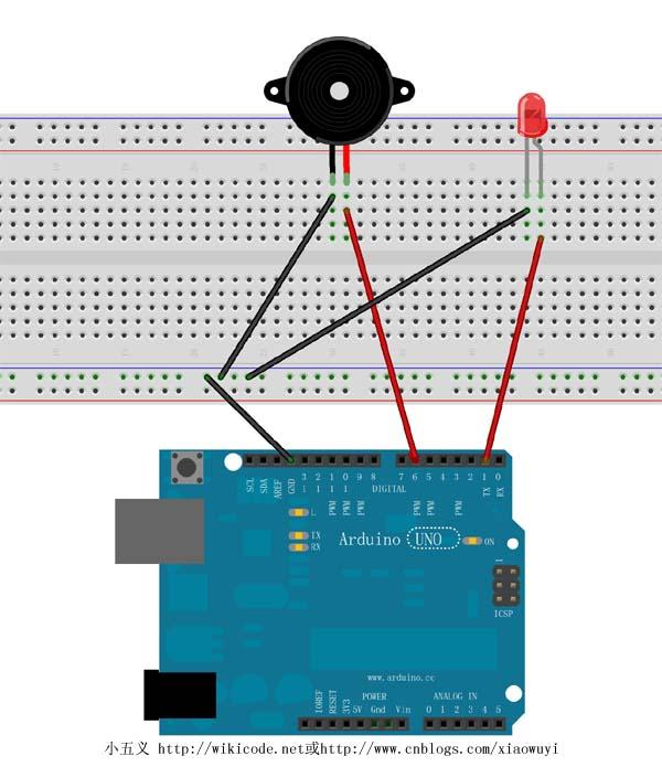 (arduino)详解蜂鸣器演奏音乐并配有led闪烁实验