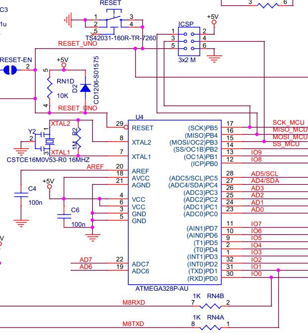 atmega32p-au部分电路图