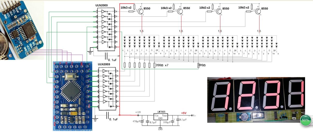使用pro mini和ds3231模块的led时钟