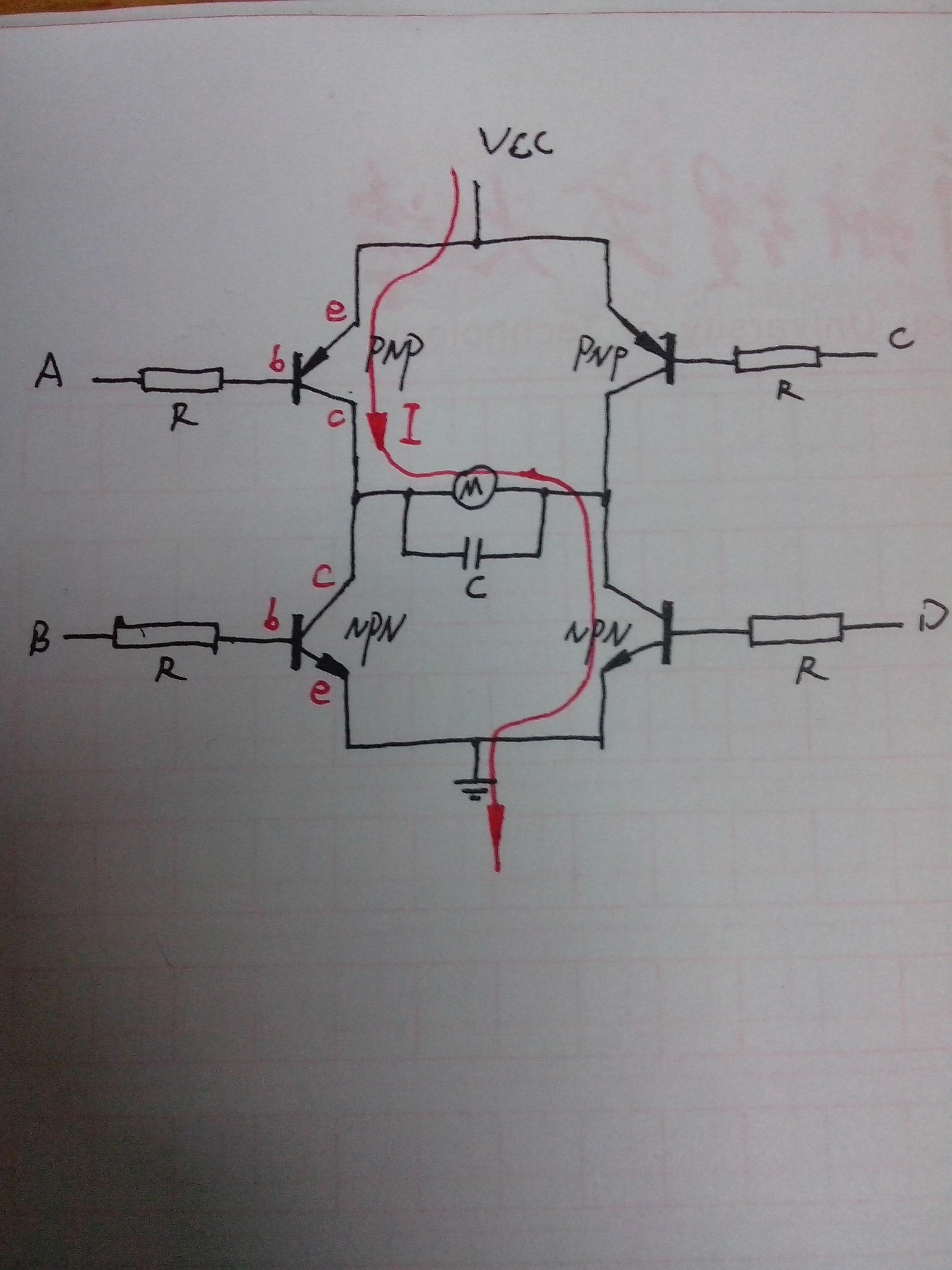 左上pnp和右下npn三极管导