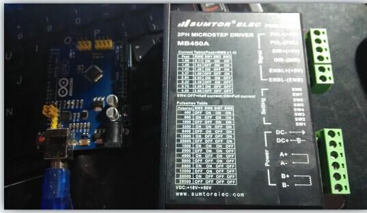 求arduion加mb450a两线控制2相4线步进电机的接线图