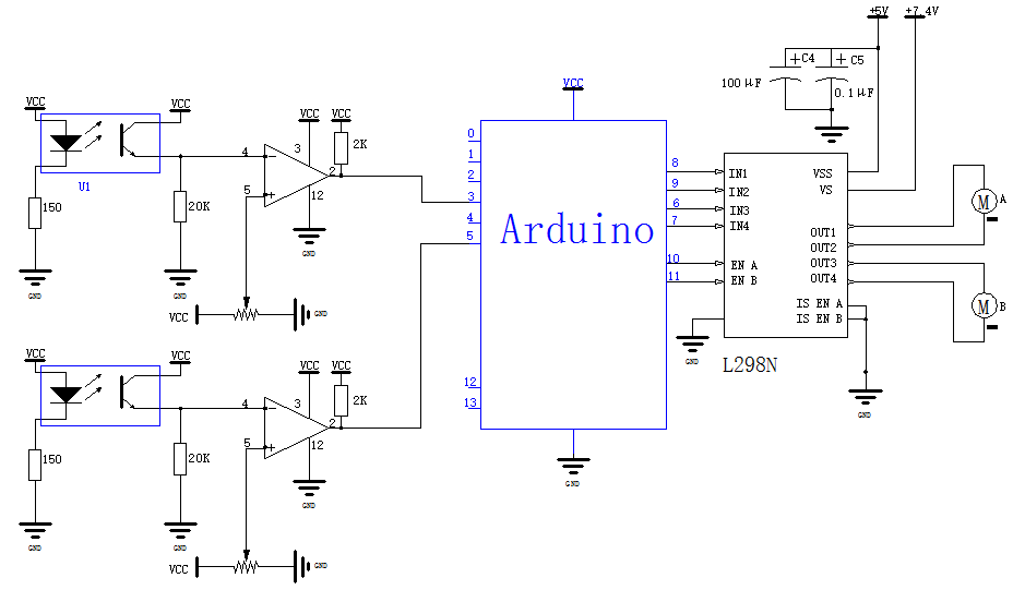 Arduino两路红外自动沿墙小车