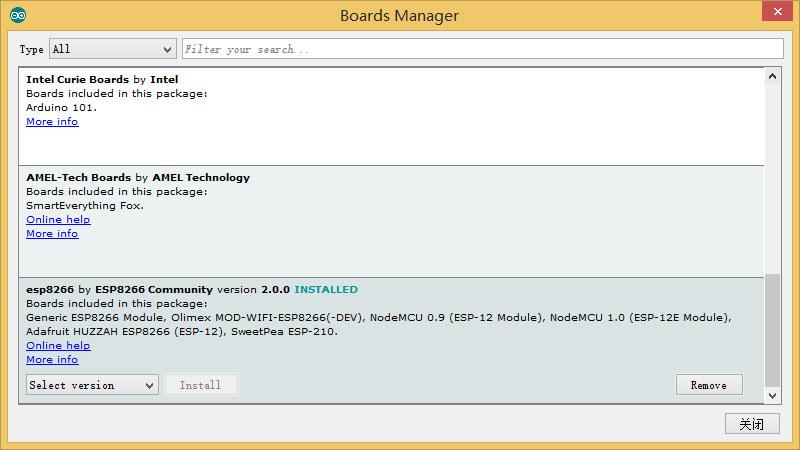 安装Board支持包,安装完成后的样子,会显示2.0.0 INSTALLED
