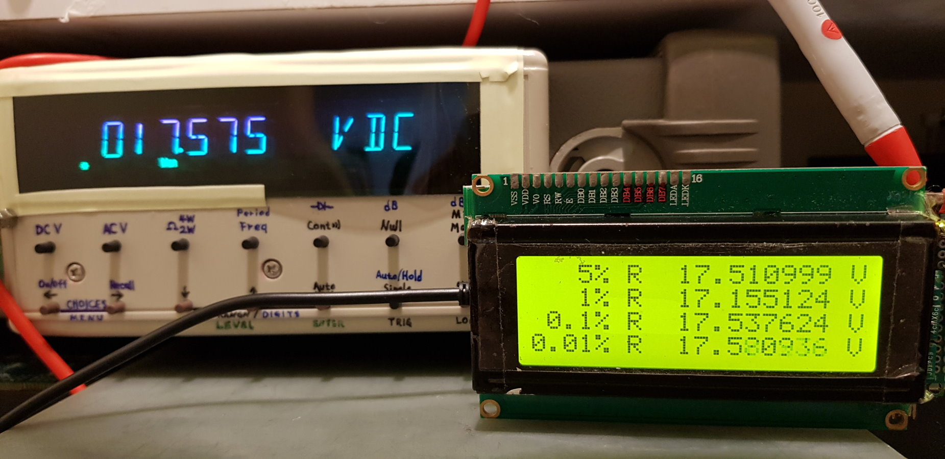 第一次使用電阻上所標示的值代入算式,誤差有點大
